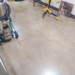 Polished concrete flooring in garage