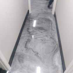 Vibrant metallic epoxy flooring