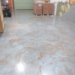 Grey & copper metallic epoxy floors