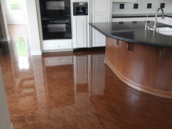 Metallic Concrete Floor Coating In A Residential Kitchen With A Urethane  Top Coat.