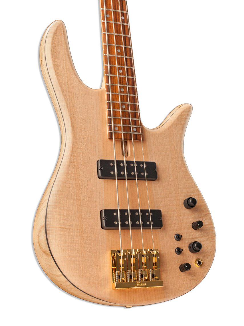 Four-String Bass Guitar Body Closeup
