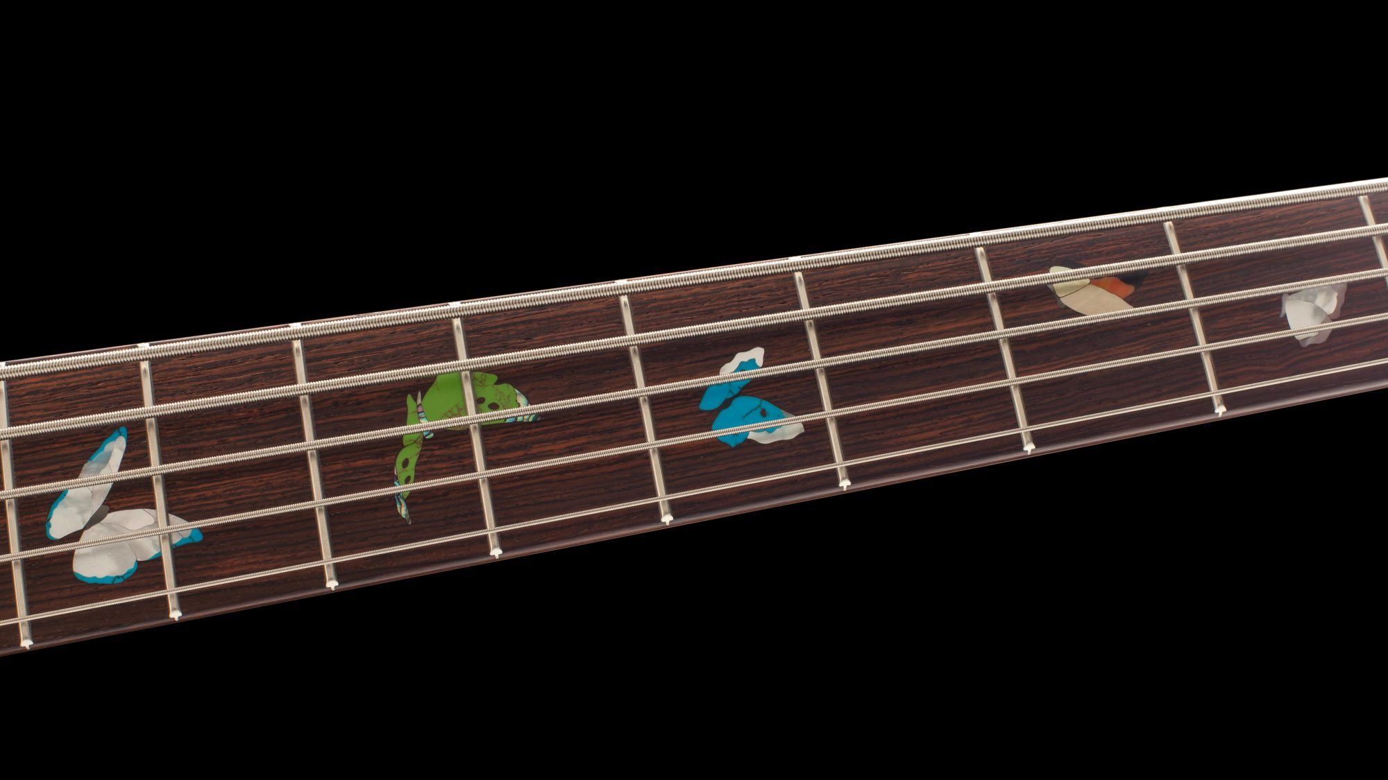 Inlaid Butterflies on Bass Neck