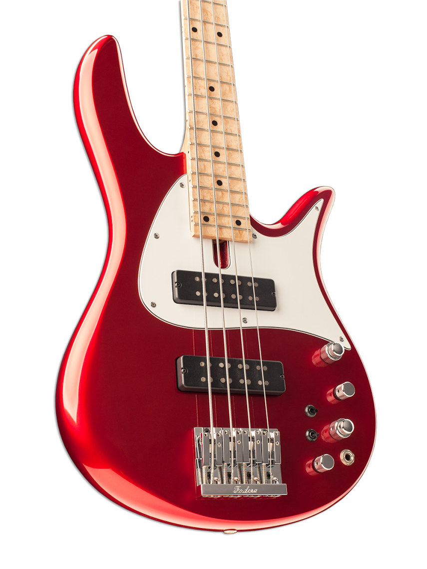 Cherry Red Four-String Bass Guitar Body Light