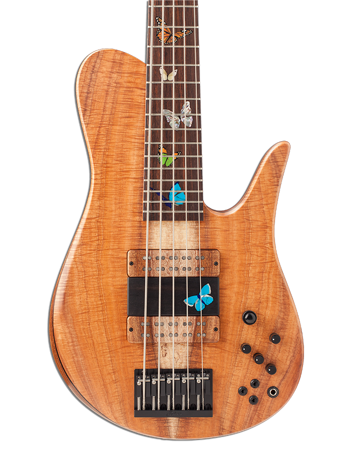 Five-String Bass Guitar With Butterfly Inlays