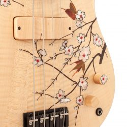 Masterbuilt Cherry Blossom Custom Bass Body and Pickup Inlay Detail