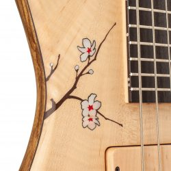 Masterbuilt Cherry Blossom Custom Bass Body Inlay Detail