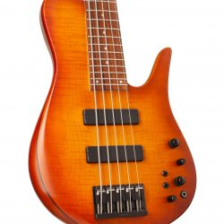 Custom Bass With Warm Colored Topwood Body Left View