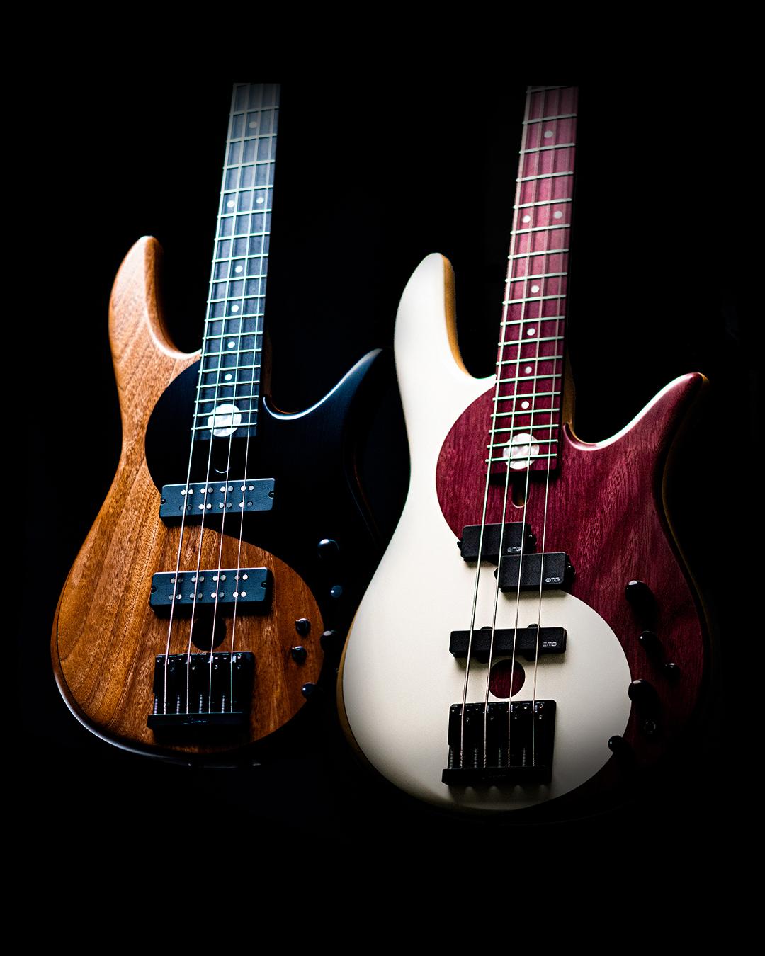 Mahogany and Purple Heart Yin Yang Series Bass Guitars Banner in Black