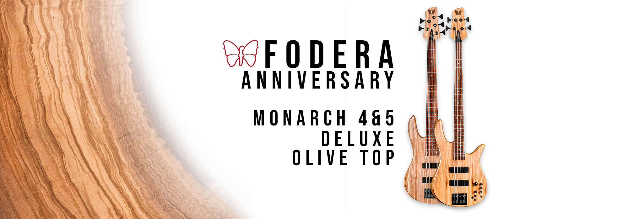 Fodera Anniversary Monarch Bass Olive Top Banner