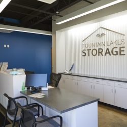The front desk at storage facility, Fountain Lakes Storage, in St. Charles, MO.