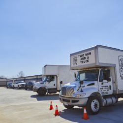 Moving trucks at Fountain Lakes Storage in St. Charles, MO.