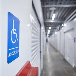 Handicap-accessible storage units at Fountain Lakes Storage in St. Charles, MO.