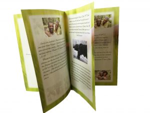 funeral programs are printed on high quality paper and saddlestitched