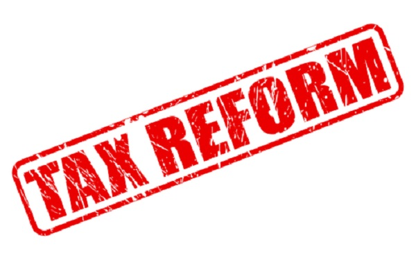 Tax reform red stamp text on white