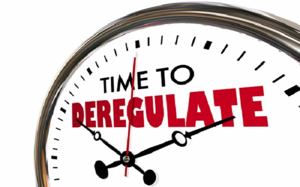 Time to Deregulate Remove Reduce Rules Oversight Clock Hands Ticking 3d Illustration