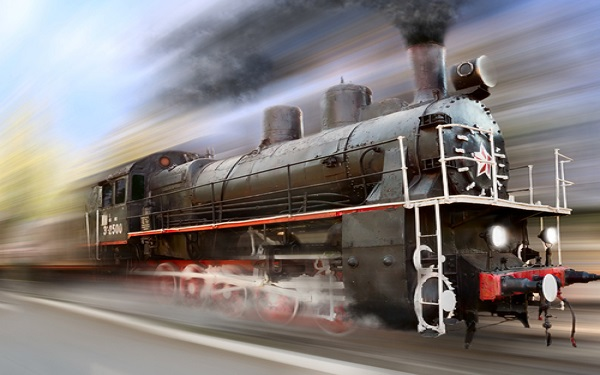 steam engine, locomotive in motion blur