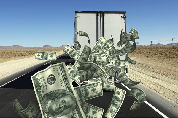 Money pouring out of truck