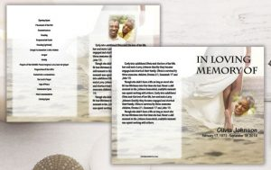 four page funeral programs are double-sided and printed in full color