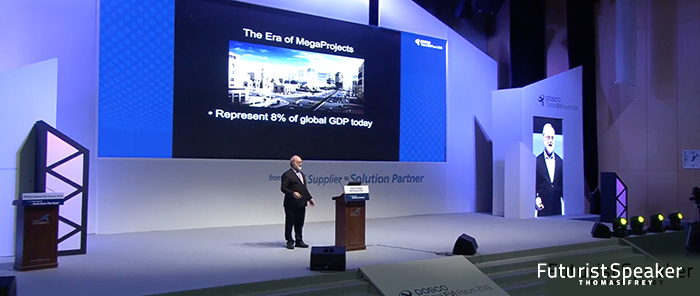 Futurist Thomas Frey keynoting an international steel conference to over 1,000 attendees on a recent trip to Korea