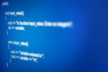 A close up of C++ code on a blue IDE.