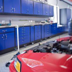 Garage workstation with storage cabinets San Francisco