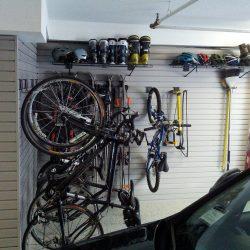 Sporting equipment wall racks in garage San Francisco