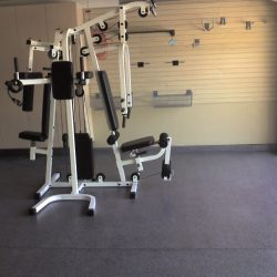 Garage gym and exercise center with epoxy floor paint San Francisco
