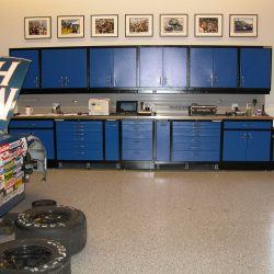 Blue metal cabinet work space and toolboxes garage San Francisco