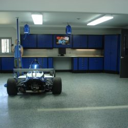 Garage showroom and workstation with metal cabinets