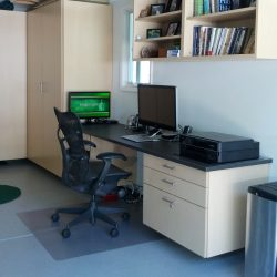 Garage office space with storage cabinets San Francisco