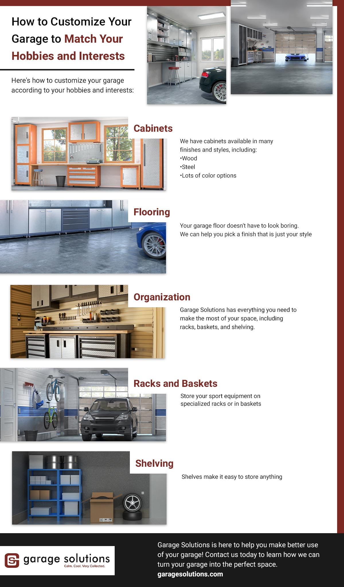 infographic about ways to organize your garage with help from garage solutions