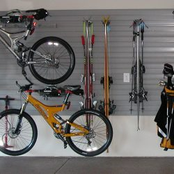 Sporting equipment wall racks in garage San Francisco