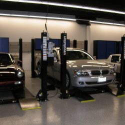 Car showroom with custom lockers for maintenance San Francisco
