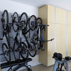 Wall bike rack and garage wall storage cabinets San Francisco