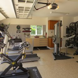 In garage fitness center with epoxy floor paint San Francisco