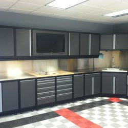 Garage floor covering, metal cabinet workstation, and cabinets in San Francisco