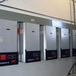Control panels for commercial solar panels at Clark Planetarium - Gardner Energy