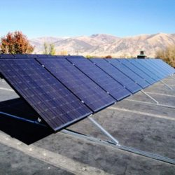 Rooftop with commercial solar panels in Hyrum, Utah - Gardner Energy