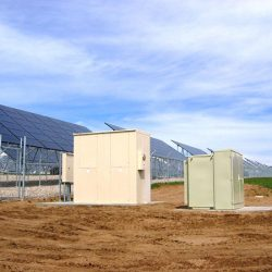 Solar grids and control panel boxes at U.S. Hill Air Force Base - Gardner Energy