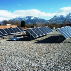 Three rows of commercial solar panels installed at the Lehi City library - Gardner Energy