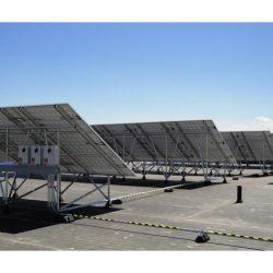 The backs of rows of solar panels at Weber State University - Gardner Energy