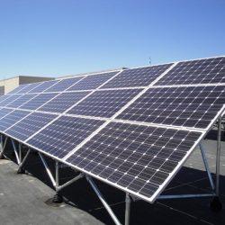 A row of commercial solar panels at WSU in Layton, Utah - Gardner Energy