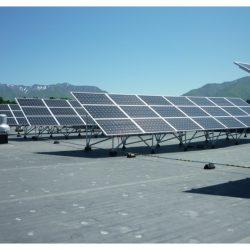 Rows of commercial solar panels at Weber State University - Gardner Energy