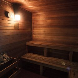A sauna at Gateway Place Apartments