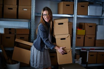 Girl storing-stock