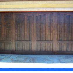 Beautiful custom stained door from G&G Garage Doors