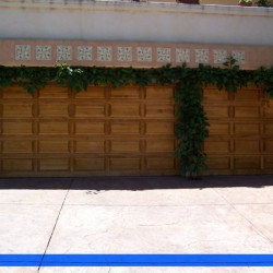 Wooden door accented with greenery from G&G Garage doors