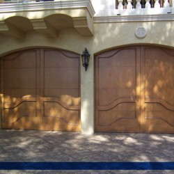 Light stained mission style doors from G&G Garage Doors