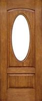 Oval Window wooden front door from G&G Garage Doors