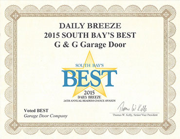 G&G Garage Door is recognized as 2015 South Bay's best.